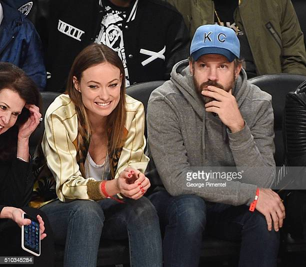 Actress Olivia Wilde and Actor Jason Sudeikis attends The 2016 NBA AllStar Game at Air Canada Centre on February 14 2016 in Toronto Canada