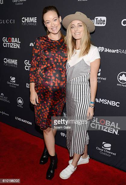 Actress Olivia Wilde and Barbara Burchfield attend the 2016 Global Citizen Festival In Central Park To End Extreme Poverty By 2030 at Central Park on...