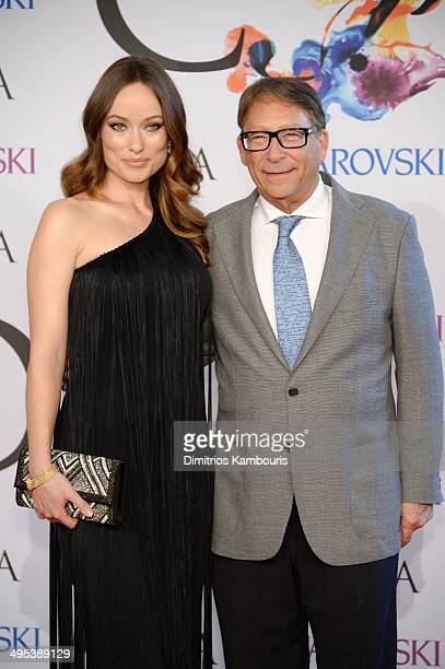 Actress Olivia Wilde and designer Stuart Weitzman attend the 2014 CFDA fashion awards at Alice Tully Hall Lincoln Center on June 2 2014 in New York...
