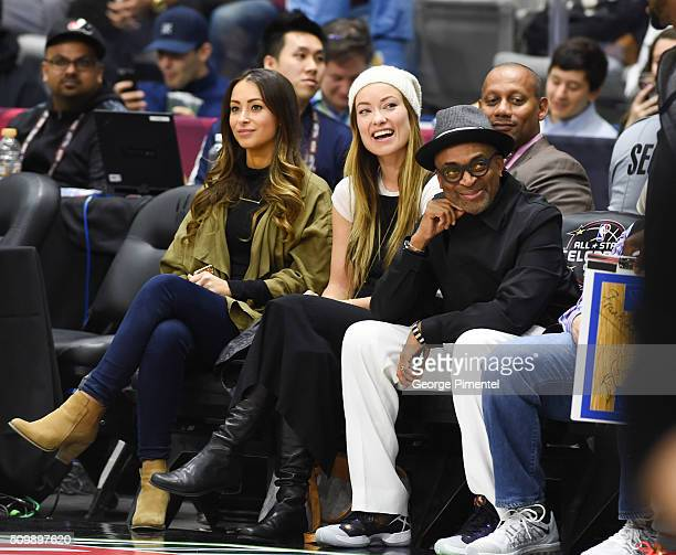 Actress Olivia Wilde and director Spike Lee attend the 2016 NBA AllStar Celebrity Game at Ricoh Coliseum on February 12 2016 in Toronto Canada