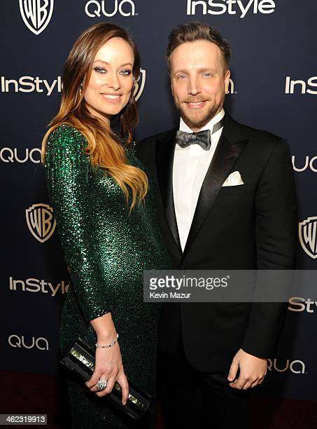 Actress Olivia Wilde and Editor of InStyle Ariel Foxman attend the 2014 InStyle And Warner Bros. 71st Annual Golden Globe Awards Post-Party at The...
