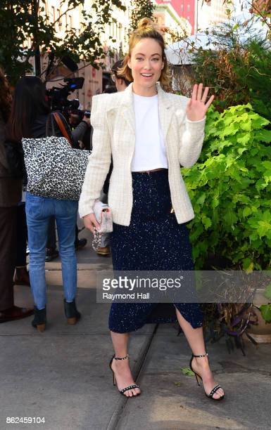 Actress Olivia Wilde is seen outside The Tribeca Chanel Womens Filmmarker Progam Lunchonon October 17 2017 in New York City