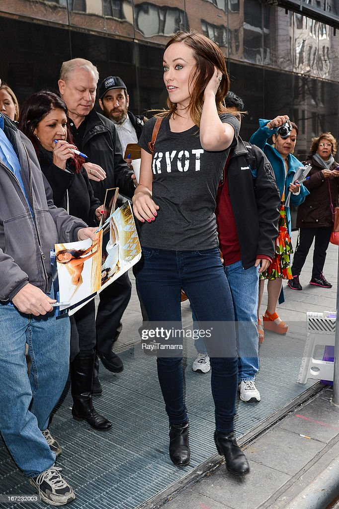 Actress Olivia Wilde leaves the 'Good Day New York' taping at the Fox 5 Studios on April 22, 2013 in New York City.