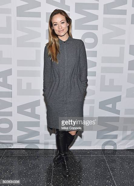 Actress Olivia Wilde poses for a picture at the Meadowland New York Screening and QA at Museum of Modern Art on December 29 2015 in New York City