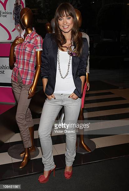 Actress Olivia Wilde poses for photos during the Liverpool Fashion Fest Spring/Summer 2011 at Liverpool Polanco on February 25 2011 in Mexico City...