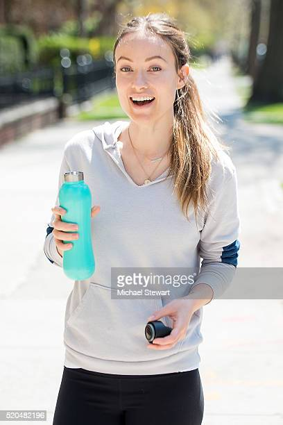 Actress Olivia Wilde spotted out for a jog in Brooklyn this afternoon with a bobble insulate water bottle on April 11 2016 in New York City
