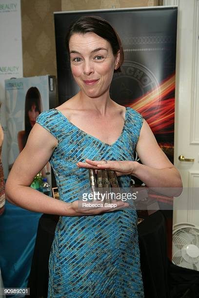 Actress Olivia Williams poses at the Camacho booth during the HBO Luxury Lounge in honor of the 61st Primetime Emmy Awards held at the Four Seasons...
