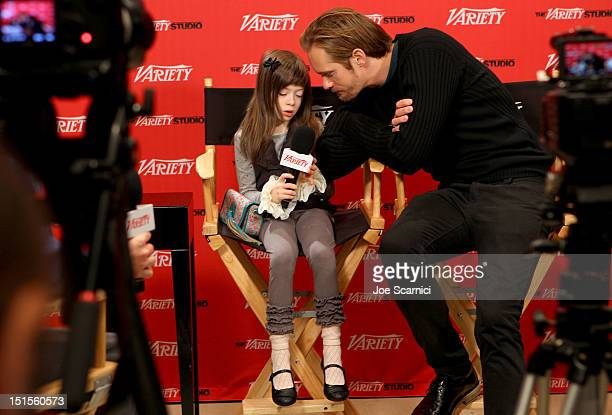 Actress Onata Aprile and Actor Alexander Skarsgard at Variety Studio presented by Moroccanoil on Day 1 at Holt Renfrew Toronto during the 2012...