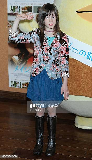 Actress Onata Aprile attends What Maisie Knew stage greeting at Cinemart Roppongi on November 18 2013 in Tokyo Japan