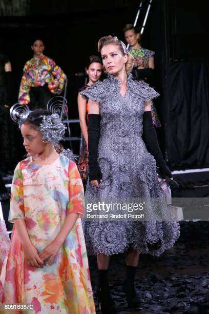 Actress Ophelia Kolb and Models children walk the runway during the Franck Sorbier Haute Couture Fall/Winter 2017-2018 show as part of Haute Couture...
