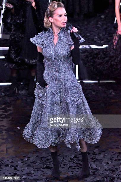 Actress Ophelia Kolb walks the runway during the Franck Sorbier Haute Couture Fall/Winter 2017-2018 show as part of Haute Couture Paris Fashion Week...
