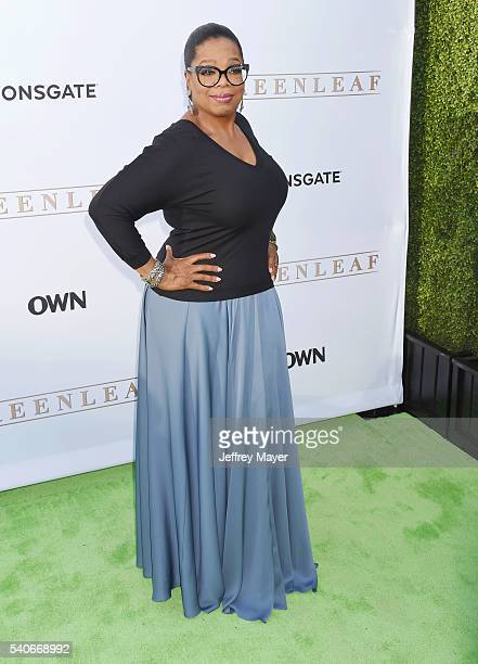 Actress Oprah Winfrey arrives at the premiere of OWN's 'Greenleaf' at The Lot on June 15 2016 in West Hollywood California