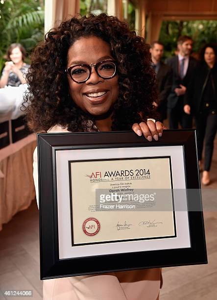 Actress Oprah Winfrey poses with award during the 15th Annual AFI Awards at Four Seasons Hotel Los Angeles at Beverly Hills on January 9 2015 in...
