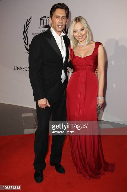 Actress Ornella Muti and Fabrice Kerherve arrive for the UNESCO CharityGala 2010 at Maritim Hotel on October 30 2010 in Duesseldorf Germany