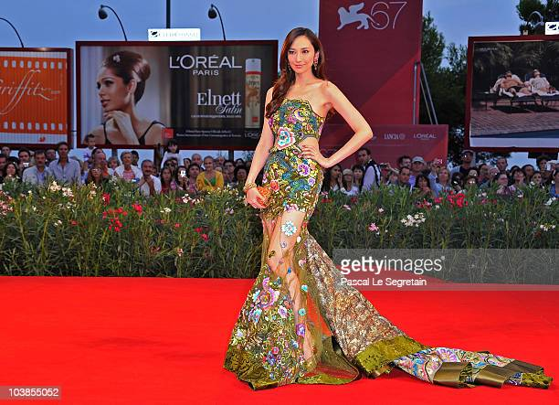 Actress Pace Wu attends the Detective Dee And The Mystery Of Phantom Flame premiere during the 67th Venice Film Festival at the Sala Grande Palazzo...