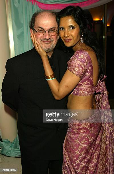 Actress Padma Lakshmi and her husband Salman Rushdie attend the MTV Party held at the MTV Villa on May 15 2004 in Cannes France