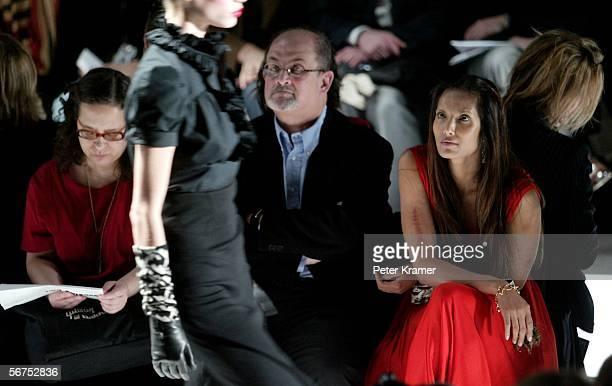 Actress Padma Lakshmi and her husband Salman Rushdie attends the Diane Von Furstenberg Fall 2006 fashion show during Olympus Fashion Week at Bryant...