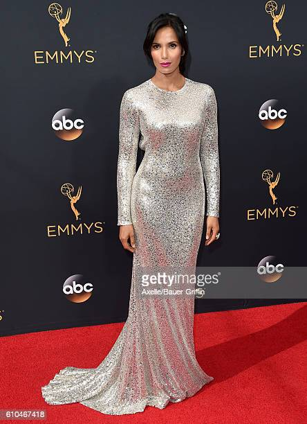 Actress Padma Lakshmi arrives at the 68th Annual Primetime Emmy Awards at Microsoft Theater on September 18 2016 in Los Angeles California