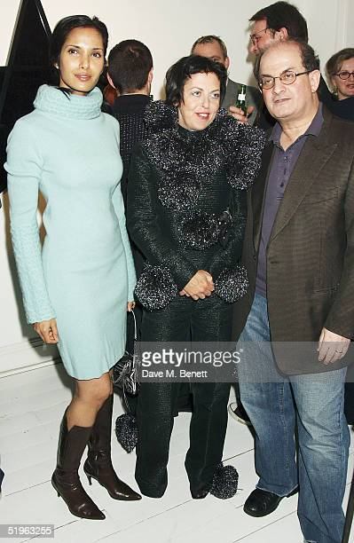Actress Padma Lakshmi fashion stylist Isabella Blow and writer Salman Rushdie attend Private View for new exhibition 'Robert Mapplethorpe Curated By...