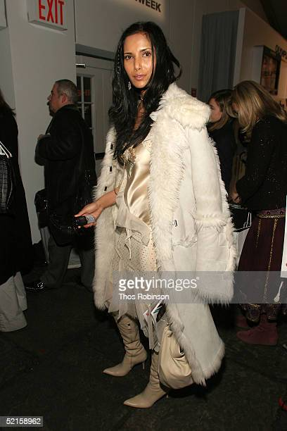 Actress Padma Lakshmi is seen in the lobby of the main tent during Olympus Fashion Week Fall 2005 at Bryant Park February 8 2005 in New York City