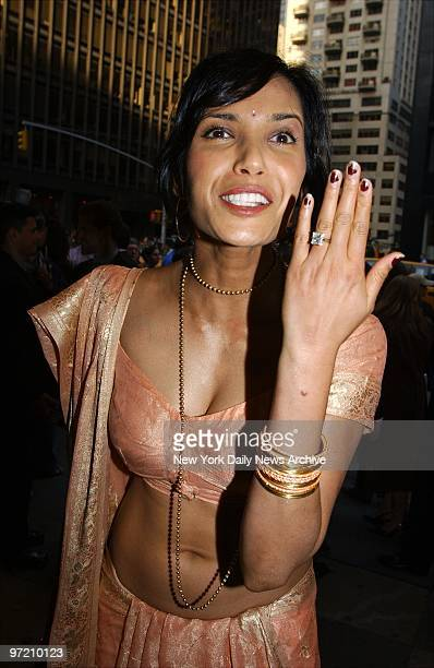 Actress Padma Lakshmi shows off her wedding ring as she arrives at the Broadway Theatre in midtown for the opening night performance of the musical...