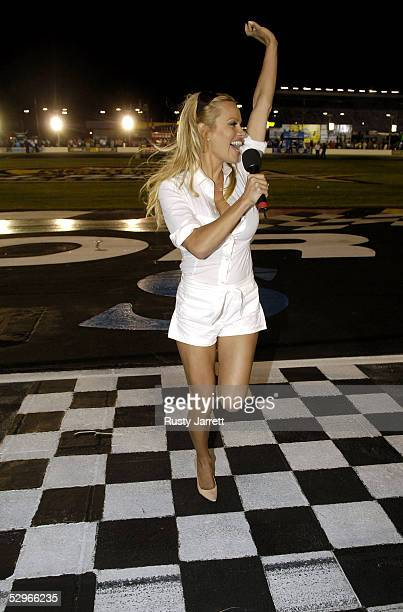 Actress Pam Anderson gives the command to start your engines for the NASCAR Nextel Cup Series All Star Challenge on May 21 2005 at the Lowes Motor...