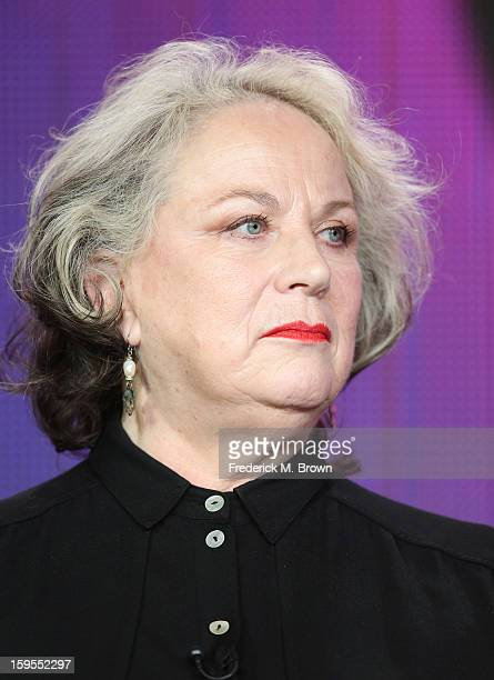 Actress Pam Ferris speaks onstage during the Call The Midwife panel discussion during the PBS Portion Day 2 of the 2013 Winter Television Critics...