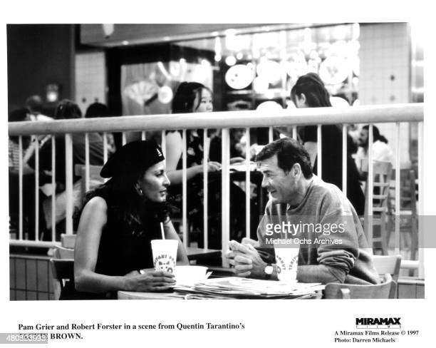 Actress Pam Grier and actor Robert Forster in a scene from the Miramax movie Jackie Brown circa 1997