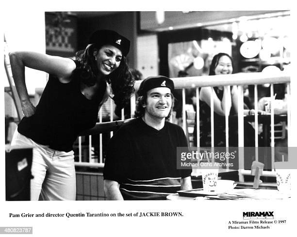"Actress Pam Grier and director Quentin Tarantino on the set of the Miramax movie ""Jackie Brown"", circa 1997."