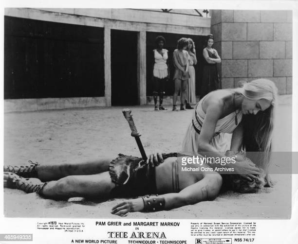 Actress Pam Grier and Margaret Markov in a scene from the movie The Arena which was released on January 15 1974