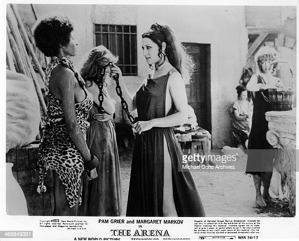 Actress Pam Grier and Rosalba Neri in a scene from the movie The Arena which was released on January 15 1974