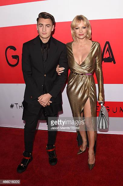 Actress Pamela Anderson and Brandon Thomas Lee attend the premiere of Open Road Films' 'The Gunman' at Regal Cinemas LA Live on March 12 2015 in Los...