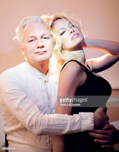 Actress Pamela Anderson and editor of WikiLeaks Julian Assange pose for a portrait on March 12 2017 in London England