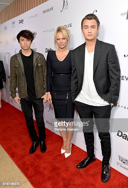 Actress Pamela Anderson and her sons Brandon Thomas Lee and Dylan Jagger Lee attend The Daily Front Row Fashion Los Angeles Awards 2016 at Sunset...