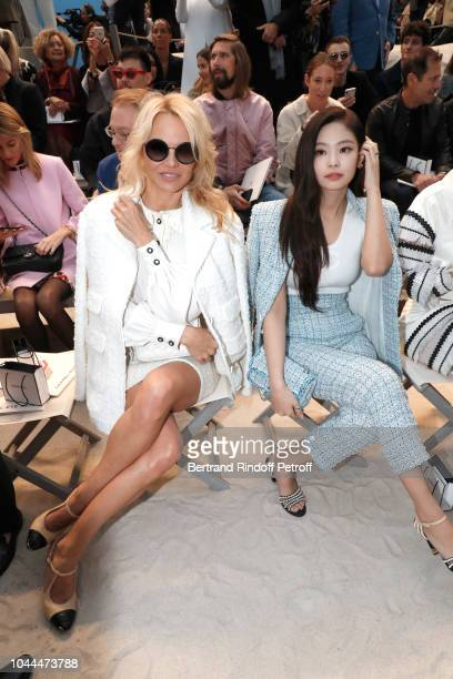 Actress Pamela Anderson and Jennie Kim attend the Chanel show as part of the Paris Fashion Week Womenswear Spring/Summer 2019 on October 2 2018 in...