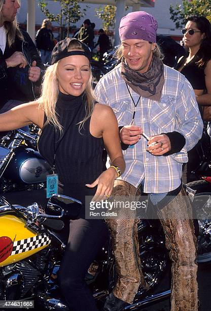Actress Pamela Anderson and musician Brett Michaels of Poison attend the Love Ride 11 11th Annual Motocycle Rider's Fundraiser for the Muscular...