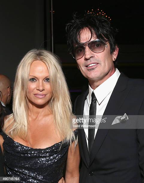 Actress Pamela Anderson and musician Tommy Lee attend PETA's 35th Anniversary Party at Hollywood Palladium on September 30 2015 in Los Angeles...
