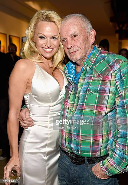 Actress Pamela Anderson and photographer David Bailey attend TASCHEN And David Bailey Celebrate It's Just A Shot Away The Rolling Stones In...