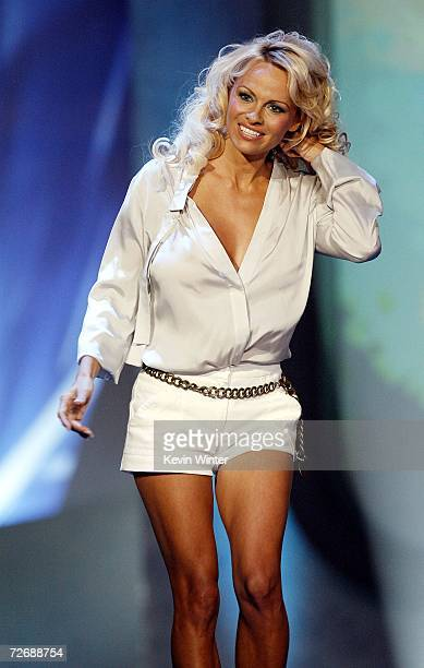 Actress Pamela Anderson appears on stage at Arby's Action Sports Awards at Center Stage on November 30 2006 in Burbank California