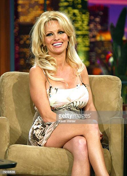 Actress Pamela Anderson appears on 'The Tonight Show with Jay Leno' at the NBC Studios February 9 2004 in Burbank California