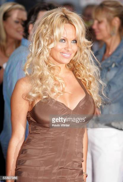 Actress Pamela Anderson arrives at Fox AllStar Television Critics Association party at Santa Monica Pier on July 29 2005 in Santa Monica California