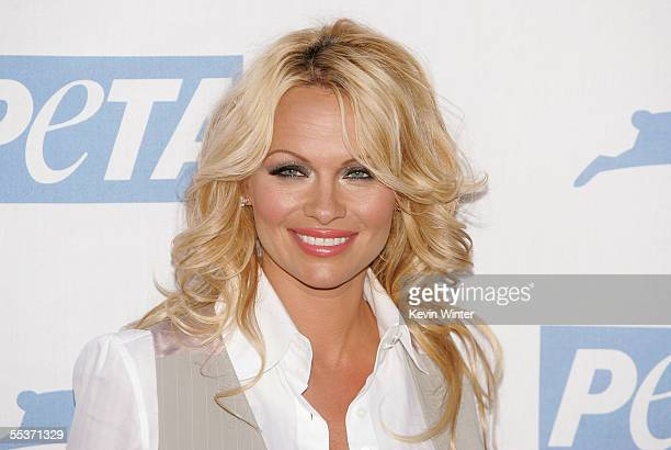 Actress Pamela Anderson arrives at PETA's 15th Anniversary Gala and Humanitarian Awards at Paramount Studios on September 10 2005 in Hollywood...