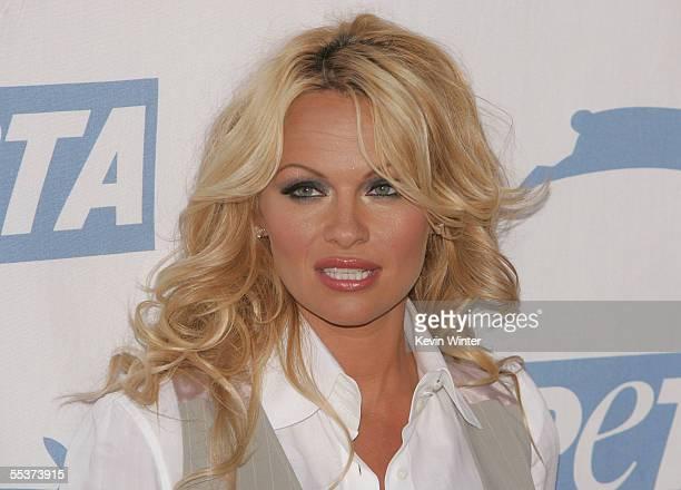 Actress Pamela Anderson arrives at PETA's 15th Anniversary Gala and Humanitarian Awards at Paramount Studios on September 10, 2005 in Hollywood,...