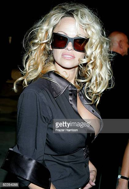 Actress Pamela Anderson arrives at the Vanity Fair Oscar Party at Mortons on February 27 2005 in West Hollywood California
