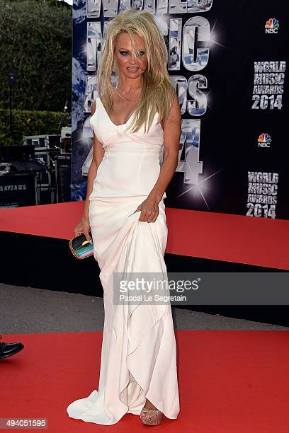 Actress Pamela Anderson arrives at the World Music Awards at Sporting MonteCarlo on May 27 2014 in MonteCarlo Monaco