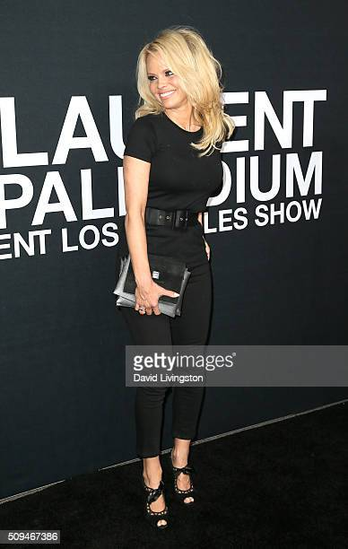 Actress Pamela Anderson attends Saint Laurent at Hollywood Palladium on February 10 2016 in Los Angeles California