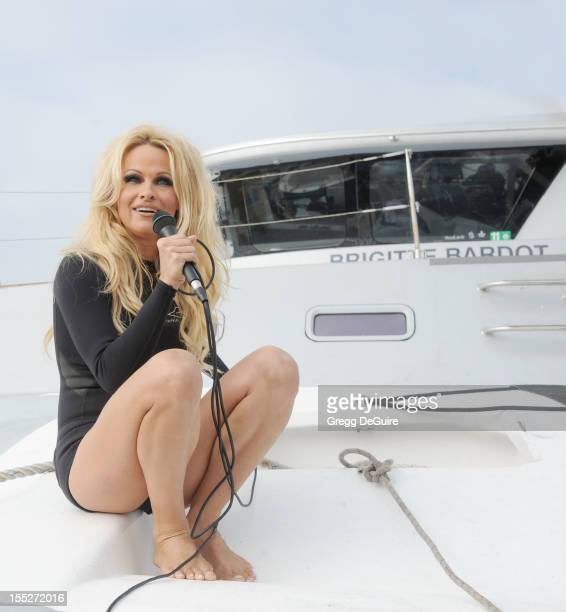 Actress Pamela Anderson attends Sea Shepherd's Operation Zero Tolerance Antarctic whale defense campaign press conference launch at Fisherman's...