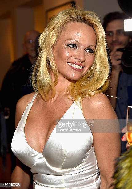 Actress Pamela Anderson attends TASCHEN And David Bailey Celebrate It's Just A Shot Away The Rolling Stones In Photographs at the TASCHEN Gallery on...