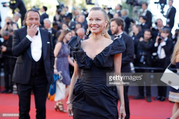 Actress Pamela Anderson attends the '120 Beats Per Minute ' screening during the 70th annual Cannes Film Festival at Palais des Festivals on May 20...