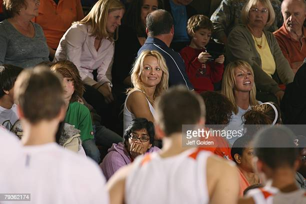 Actress Pamela Anderson attends the basketball game between the Loyola Marymount Lions and the Pepperdine Waves on January 26 2008 at Firestone...